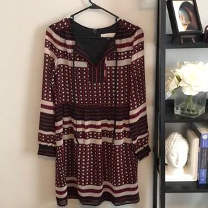 Black, white, and red patterned LOFT dress